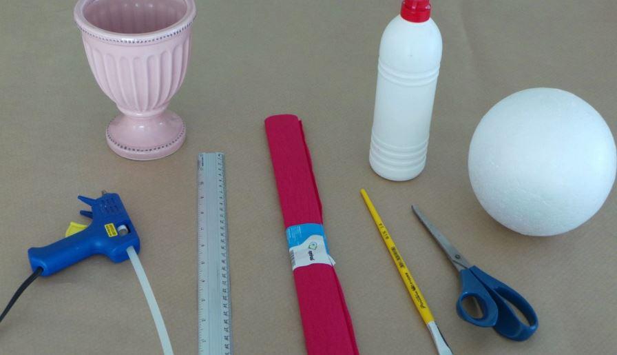 Materiais - tutorial: Bola de isopor com rosas - Topiária
