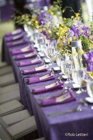 casamento roxo mesa