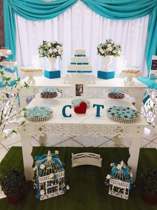 decoração noivado azul tiffany chá de panela